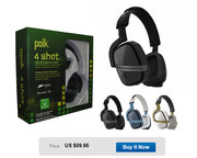 NEW-Polk 4 Shot Xbox One BLACK Gaming Headphone Chat Pro Mic Included